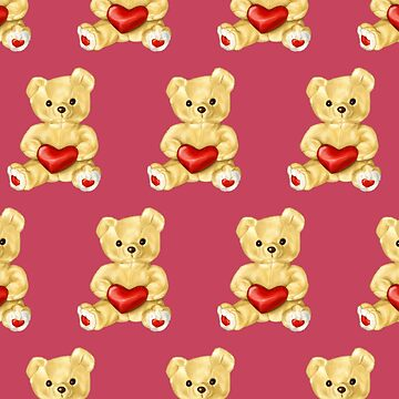 Cute Teddy Bear Pink Pattern by azzza