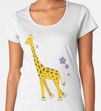 Purple Cartoon Funny Giraffe Roller Skating Women's Premium T-Shirt