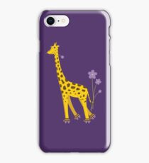Purple Cartoon Funny Giraffe Roller Skating iPhone Case/Skin