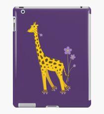 Purple Cartoon Funny Giraffe Roller Skating iPad Case/Skin
