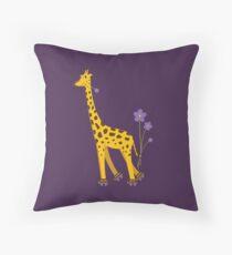 Purple Cartoon Funny Giraffe Roller Skating Throw Pillow