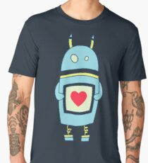Blue Cute Clumsy Robot With Heart Men's Premium T-Shirt