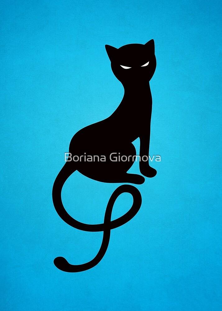 Blue Gracious Evil Black Cat by Boriana Giormova
