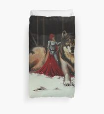 Red and Wolf Duvet Cover