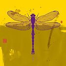 Big Dragonfly In Purple And Yelow by Thoth Adan