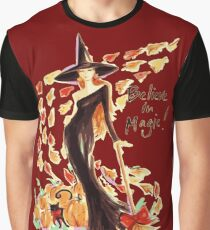 I Believe In Magic Autumn Witch Graphic T-Shirt