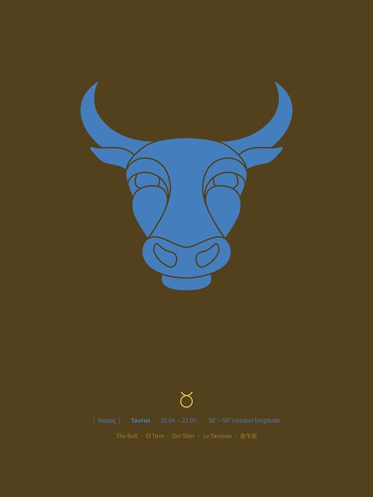 Taurus Zodiac / Bull Star Sign Poster by Thoth-Adan
