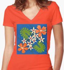 Hibiscus Hawaiian Print Women's Fitted V-Neck T-Shirt