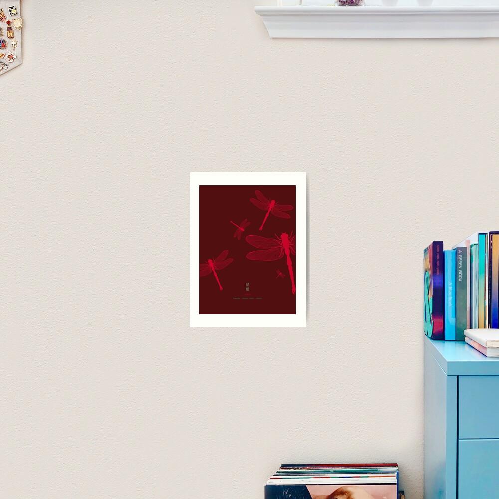 Five Red Dragonflies Art Print