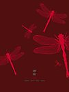 Five Red Dragonflies by Thoth Adan