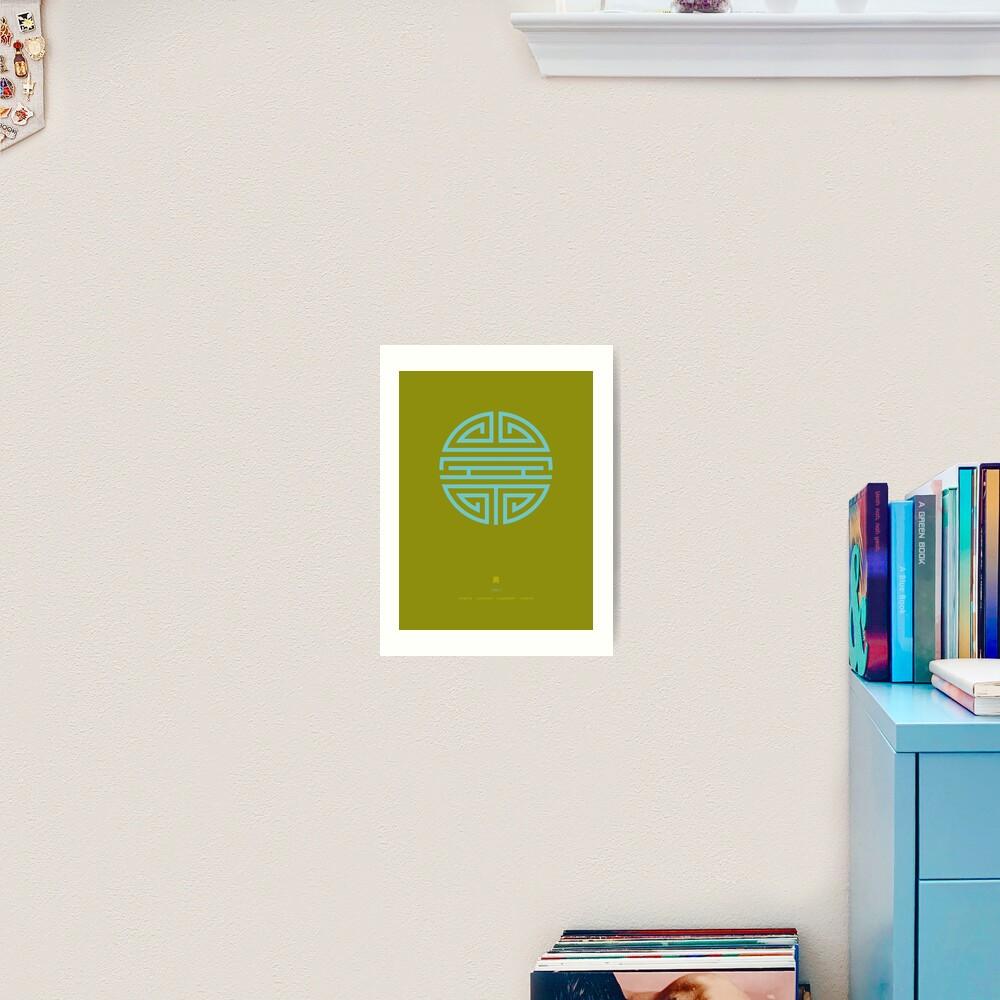 Shou / Longevity In Green Art Print