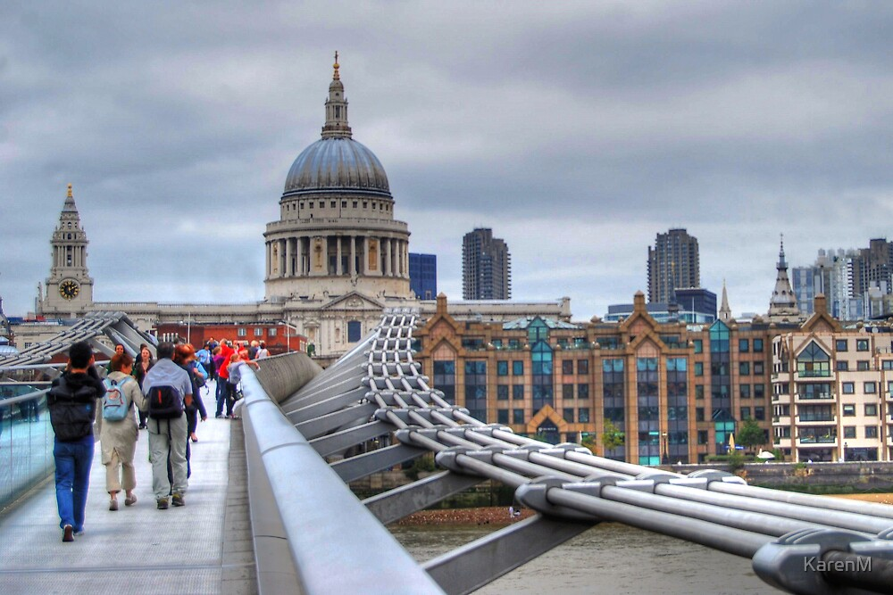 St Paul's Cathedral and Millennium Bridge by KarenM