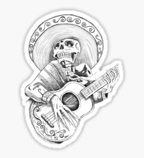Dead Romantic Mexican Mariachi Skull Sticker