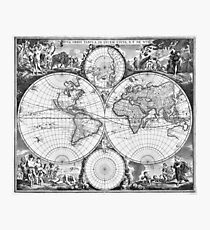 Black and White World Map (1670) Photographic Print