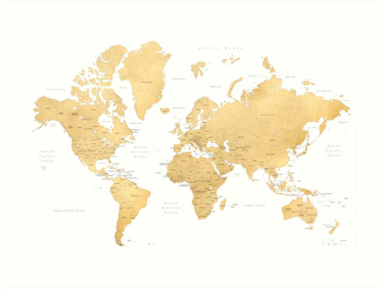 Gold world map with countries and states labelled