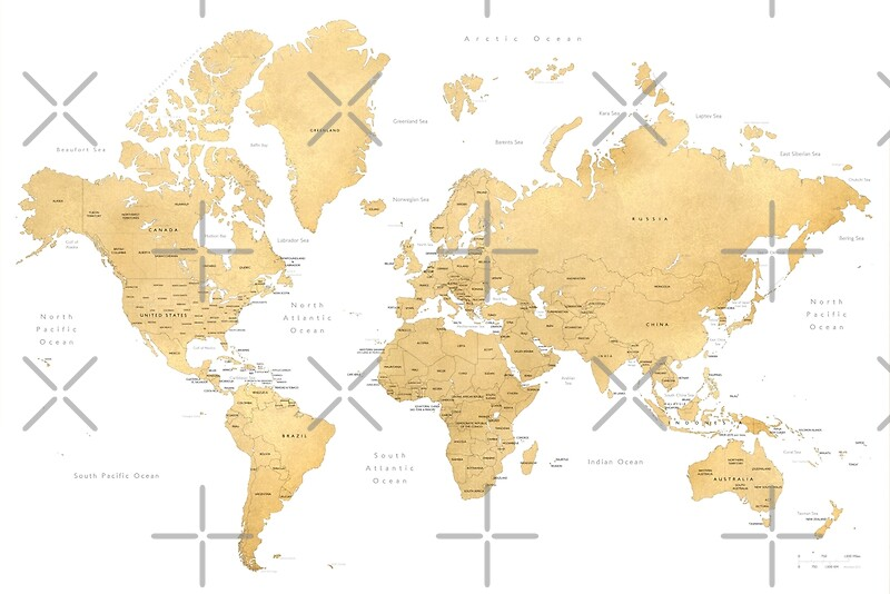 Gold world map with countries and states labelled art prints by gold world map with countries and states labelled by blursbyai gumiabroncs Gallery