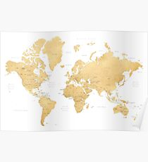 Gold world map with countries and states labelled Poster