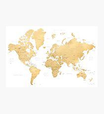 Gold world map with countries and states labelled Photographic Print