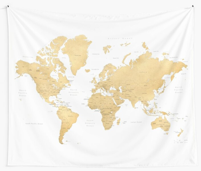 Gold world map with countries and states labelled wall tapestries gold world map with countries and states labelled by blursbyai gumiabroncs Image collections