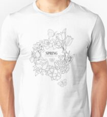 Wrath Of Spring Flowers Hand Drawn Realistic Sketch T-Shirt