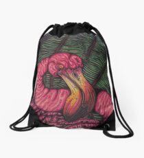 The Angry Flamingo Drawstring Bag