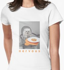 Nervous Dinner with White Dog Women's Fitted T-Shirt