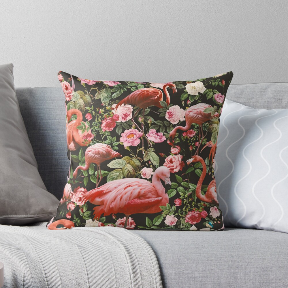Floral and Flamingo Pattern Throw Pillow