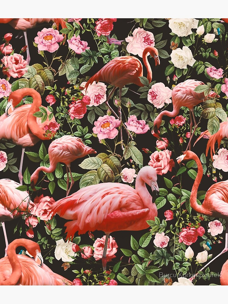 Floral and Flamingo Pattern by burcukyurek