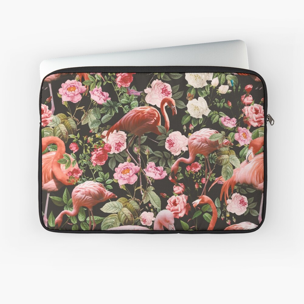 Floral and Flamingo Pattern Laptop Sleeve