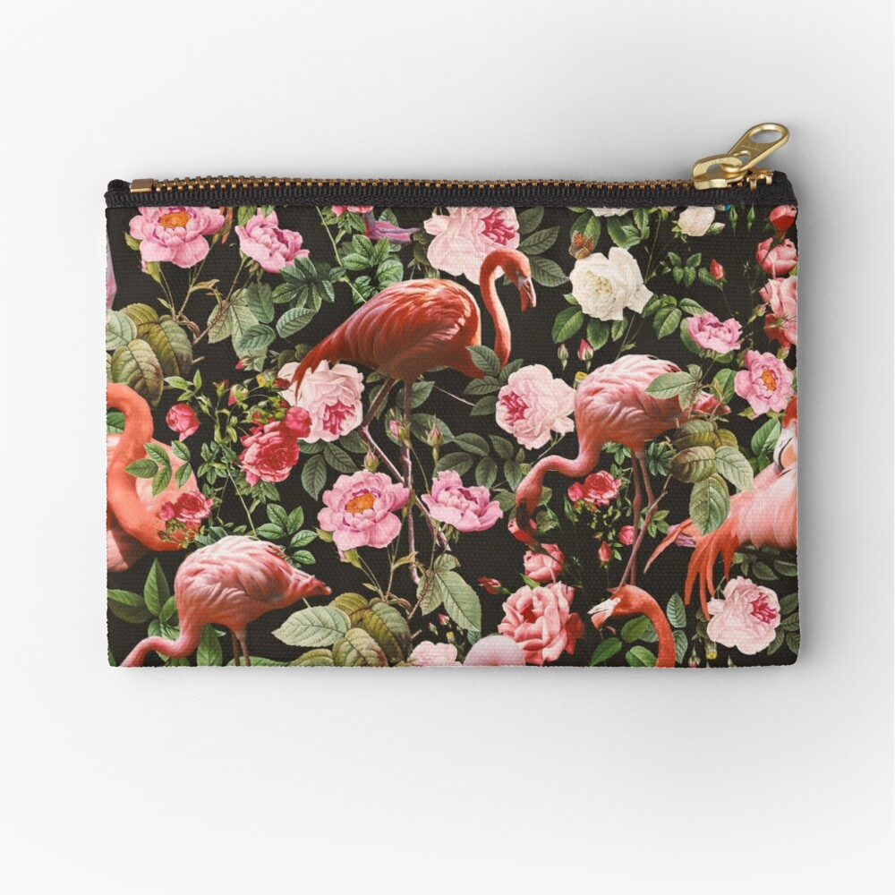 Floral and Flamingo Pattern Zipper Pouch