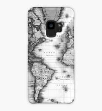 Black and White World Map (1840) Case/Skin for Samsung Galaxy
