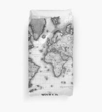 Black and White World Map (1840) Duvet Cover
