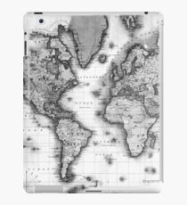 Black and White World Map (1840) iPad Case/Skin