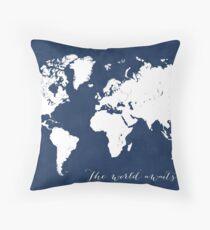 The world awaits world map Throw Pillow