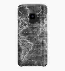 Black and White World Map (1801) Inverse Case/Skin for Samsung Galaxy