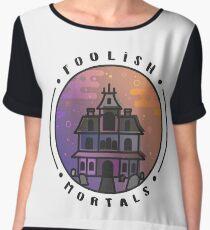 Welcome Foolish Mortals Haunted Mansion Halloween Horror Artwork Women's Chiffon Top