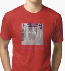 White Dog in Glass Prison Tri-blend T-Shirt