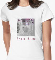 Weißer Hund im Glasgefängnis Tailliertes T-Shirt