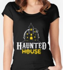 Haunted House Halloween Shirt Ideas Women's Fitted Scoop T-Shirt
