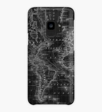 Black and White World Map (1864) Inverse Case/Skin for Samsung Galaxy