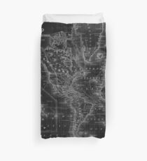 Black and White World Map (1864) Inverse Duvet Cover