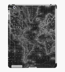 Black and White World Map (1864) Inverse iPad Case/Skin