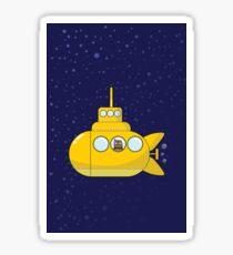 Yellow submarine in deep ocean Sticker
