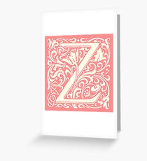 Z - Capital letter. William Morris' design Greeting Card