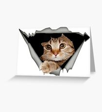 Cat wants to jump- 3D cat Greeting Card