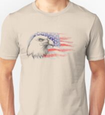 Sketch of bald eagle head on the background with American flag. T-Shirt