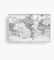 Black and White World Map (1901) Canvas Print