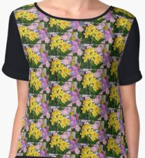 Bouquet of Spring Flowers, Painting Effect Photograph Women's Chiffon Top