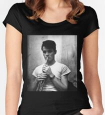 Chet Baker and his Trumpet Women's Fitted Scoop T-Shirt