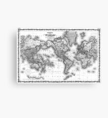 Black and White World Map (1860) Canvas Print